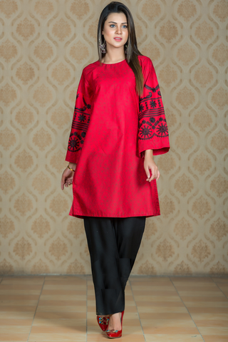 Printed Red Black Kurta with Computer Aari Embroidery on Sleeves