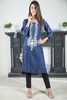 Blue Jaquard Kurta with Embroidery