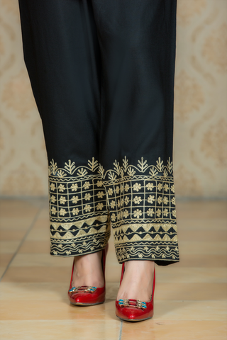 Black Linen Trousers with Aari Embroidery