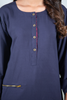 Print & Plain Navy Linen Kurta with Zip Pocket
