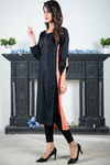 SALE Black Peach Self Embossed Linen Kurta with Embroidered Back