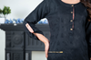 Black Peach Self Embossed Linen Kurta with Embroidered Back