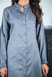 SALE Grey Self Linen Shirt Kurta with Embroidered Back