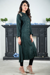 SALE Bottle Green Self Linen With Aari Embroidery on the Shoulders