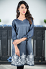 Denim Embroidered Kurta