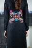 Black Self Linen Shirt Kurta with Embroidered Back