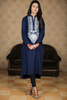 Navy Linen Kurta with White Embroidery