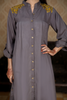 Grey Linen Shoulder Embroidered Shirt Kurta with Back Motif