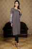 SALE Grey Midi Kurta with Bell Embroidered Sleeves