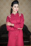SALE Maroon Linen Shirt Kurta with Embroidered Shoulders