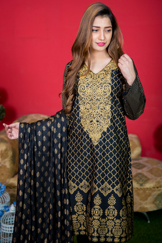 Two Piece: Black Gold Desert Kurta with Cotton Shawl