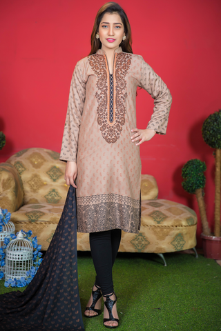 Two Piece: Beige Paisley Black Kurta with Cotton Shawl