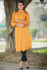 Mustard Pleated Shirt Kurta with Embroidered Back & Shoulders