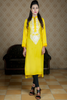 Yellow Linen Kurta with White Embroidery