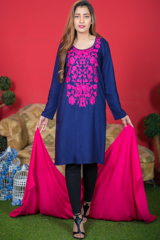 Two Piece: Navy Kurta with Pink Embroidery & Shawl