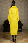 SALE Yellow Linen Kurta with White Embroidery