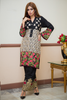 Black Roshanara Linen Kurta with Glitter Sequin & Threadwork (Trouser not included)