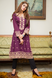 SALE Purple Mahal Kurta with Aari Work
