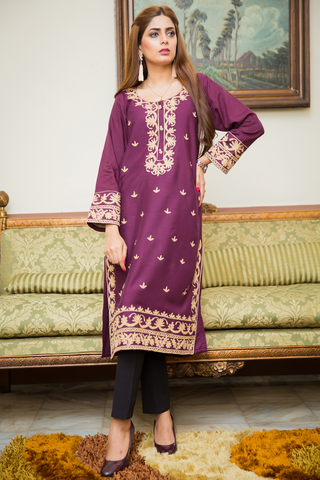 Purple Mahal Kurta with Aari Work