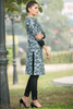 Grey Floral Linen Kurta with Black Cuff Sleeves