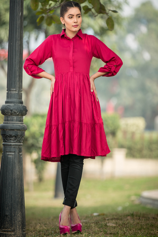 Pomegranate Maroon Tiered Kurta