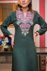 Bottle Green Aztec Embroidered Linen Kurta