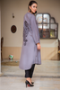 Pleated Grey Shirt Kurta with Embroidered Motif