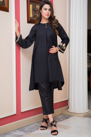 Black Pleated Kurta with Aari Work