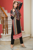 Three Piece: Chevron Rose Lawn Kurta with Trouser & Scarf