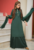 Three Piece: Bottle Green Embroidered Linen Sharara Three Piece