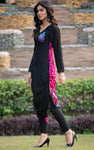 SALE Black Pink Adjustable Length Linen Kurta with Aari Work