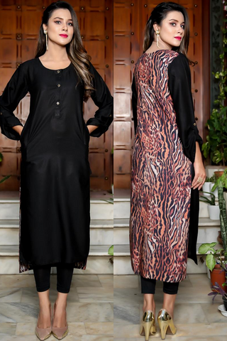 Double Pocket Print & Plain Tiger Linen Kurti