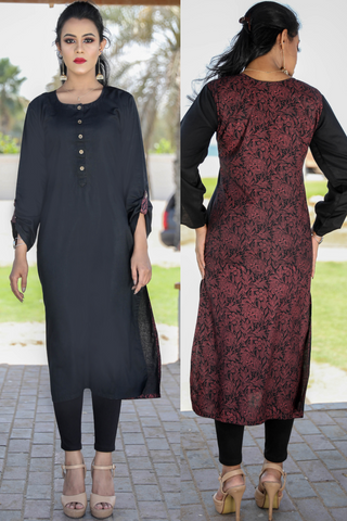 Black Linen Print and Plain Foliage Kurta