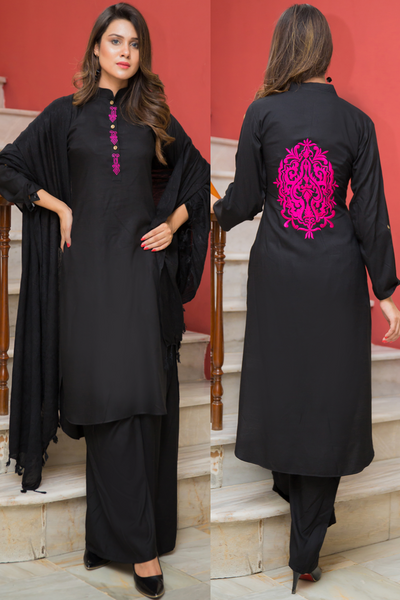 Three Piece: Black Embroidered Linen Sharara Three Piece