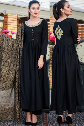 PRE-ORDER: Three Piece: Black Linen Tilla Embroidered Star Kurta with Cotton Printed Scarf