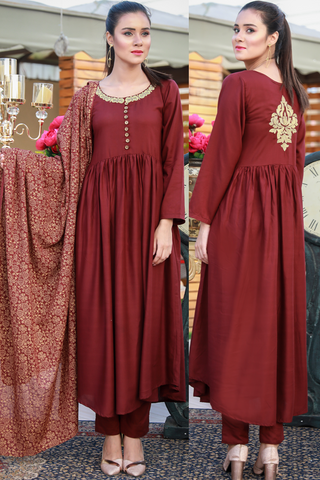 Three Piece: Maroon/Wine Linen Tilla Embroidered Star Kurta with Cotton Printed Scarf