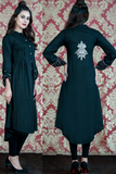 Black Linen Cuff & Back Embroidered Shirt Kurta
