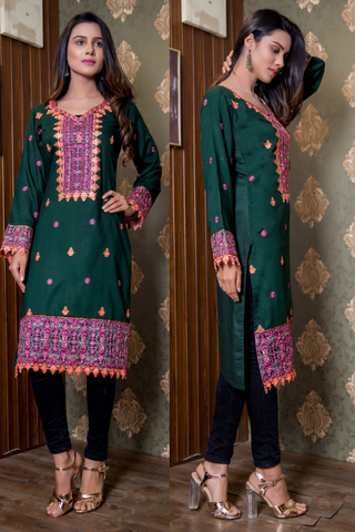 SALE Bottle Green Embroidered Kurta with Net on Sleeves and Hemline