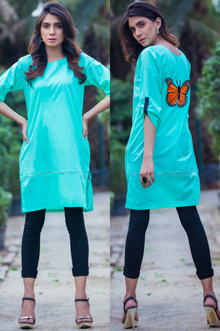 Mint Embroidered Monarch Butterfly Lawn Kurta
