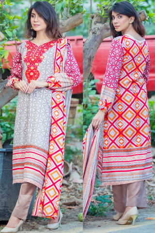 Three Piece: Beige Red Forest Fire Fly Kurta with Trouser & Scarf