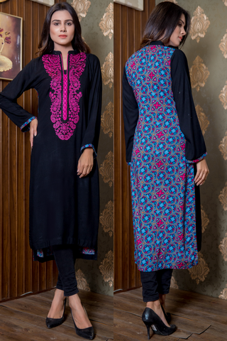 SALE Print & Plain Illusion Kurta with Embroidered Front