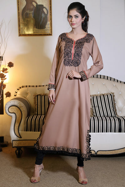 Beige Kurti with Threadwork & Ball Lace - Damak  - 1