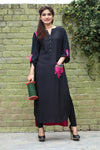Pink & Black Long Kurti with Embroidery Printed Back in Pink - Damak  - 5