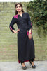 Pink & Black Long Kurti with Embroidery Printed Back in Pink - Damak  - 4