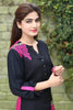 Pink & Black Long Kurti with Embroidery Printed Back in Pink - Damak  - 2