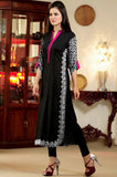 Black Kurti with White & Pink Aari Work - Damak  - 3