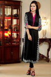 Black Kurti with White & Pink Aari Work - Damak  - 2