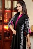 Black Kurti with White & Pink Aari Work - Damak  - 4