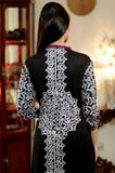 Black Kurti with White & Pink Aari Work - Damak  - 5