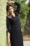 Red & Black Long Kurti with Embroidery Printed Back in Beige - Damak  - 2
